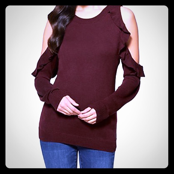 New York & Company Sweaters - NY& Co Cold-Shoulder Ruffled Sweater
